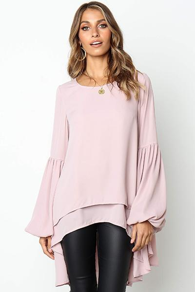 Casual Asymmetrical Ruffled Long Sleeve Solid Blouses