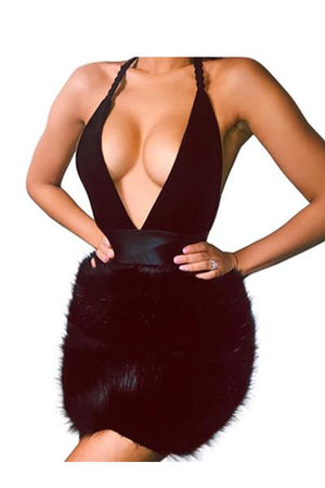Sexy Deep V Halter Fur Dress