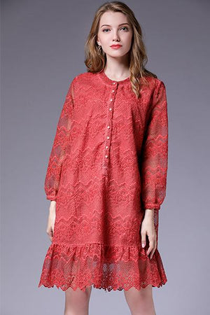 Plus Size Solid Lace Long Sleeve Knee Length Dress