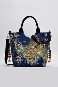 Shoulder Totes Adjustable Peacock Embroidery Bag