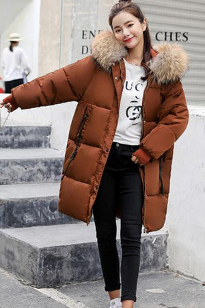Faux Fur Collar Hooded Coat