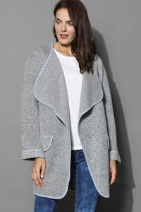 Female Solid Cuffed Cardigan
