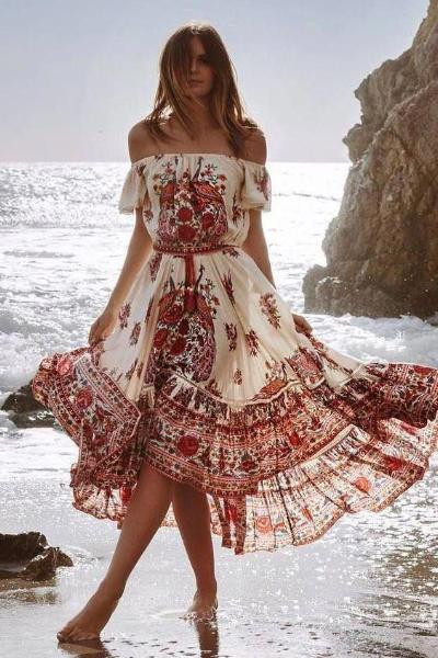Red-flowered On White Bohemian Dress