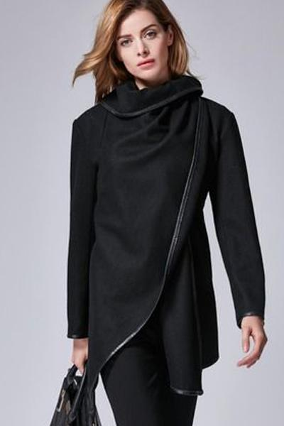 Long Sleeve Shawl Collar Piping Coat