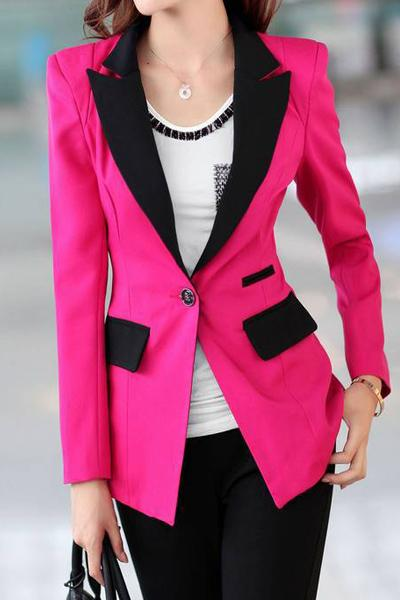 Long Sleeve Lapel Button Pockets Blazer