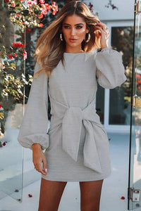 Lace-Up Crew Neck Long Sleeve Dress