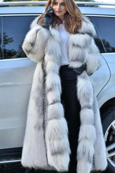 82a55e11213 White Long Faux Fur Coat
