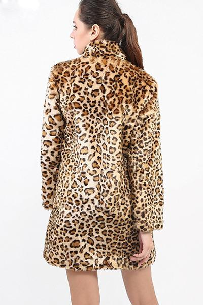 Long sleeved lapel leopard coat