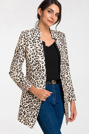 Polyester Long Sleeve Collar Jacket Coats Leopard Pattern