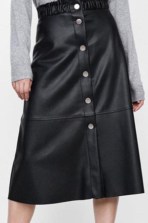 Solid Color Buckle Leather Skirt