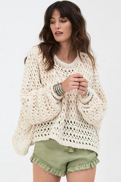 Fashion Beige Hollowed Sweater