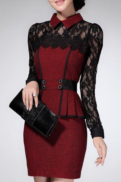 Lace Long Sleeve Above Knee Bodycon Dress