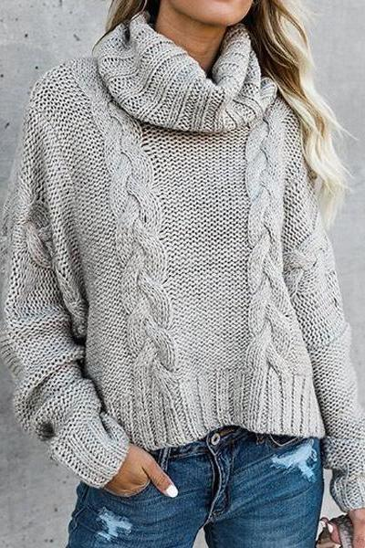 Solid Warm Heart Casual Sweater