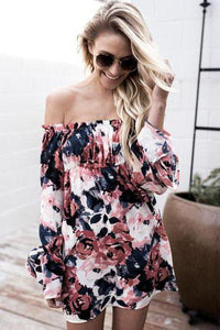 Sexy Off-Shoulder Flower Bohemian Skirt