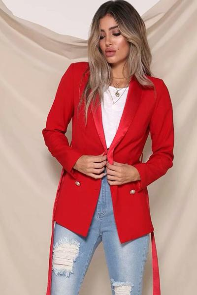 Solid Double-breasted Loose Blazer