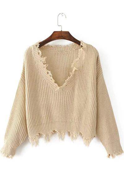 V-neck Edging Irregular Tassel Pullover Sweater