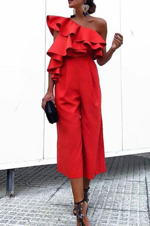Chic One-Shouldered High-Waist Jumpsuit