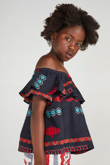 BAOBAB BLACK GEOMETRIC EMBROIDERED TOP