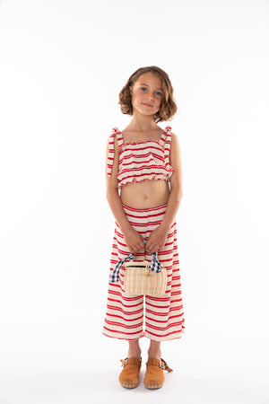VALENTINA RED STRIPED TRICOT TOP