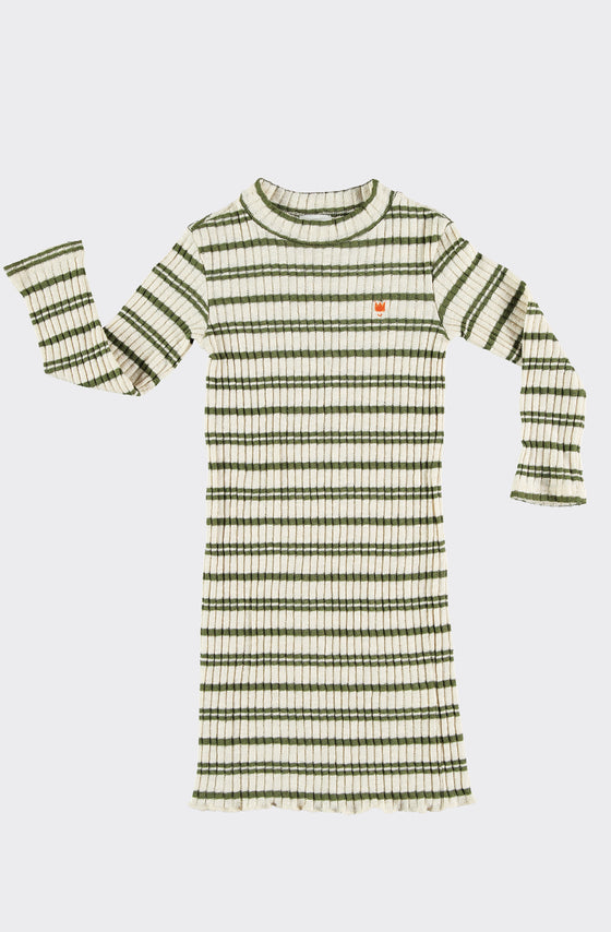 ANDREA GREEN STRIPES - DRESS