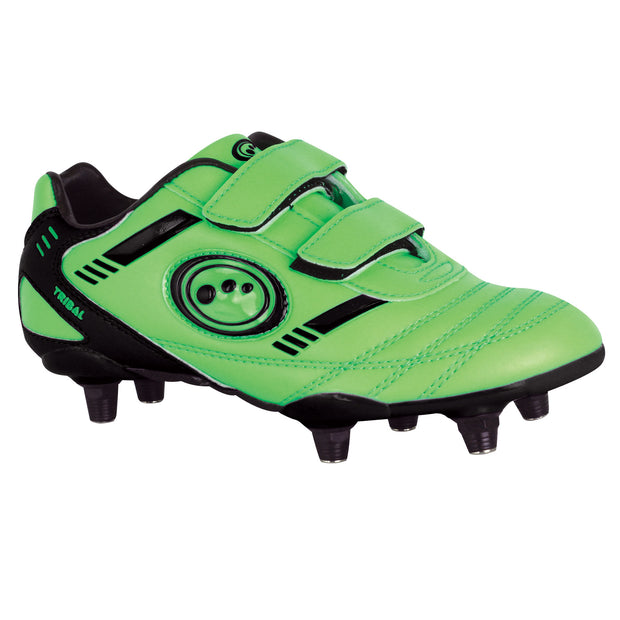 Optimum Velcro Junior Tribal Football Boot 6 Stud Fluro Green/Black