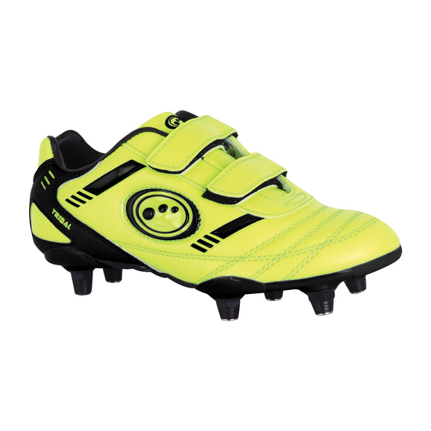 Optimum Tribal 6 Stud Velco Football Boot Fluro Yellow
