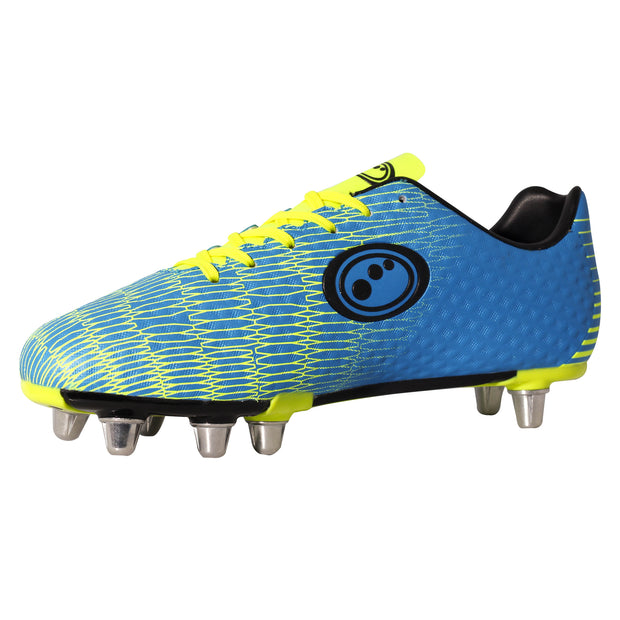 Optimum Junior Viper Rugby Boot  Cyan/Yellow