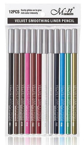 Glamza 12pc Velvet Smoothing Lip and Eyeliner Pencils