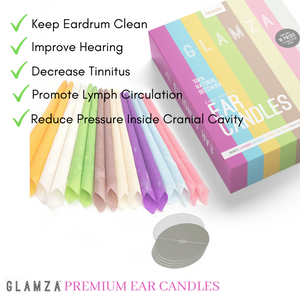 Glamza Premium Ear Candles - 16 Candles with Ear Protection Discs