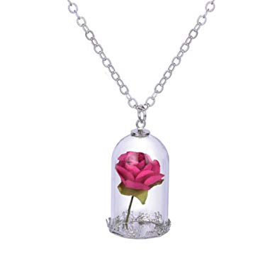 Beauty and the Beast Inspired Red Rose in Dome Pendant Necklace