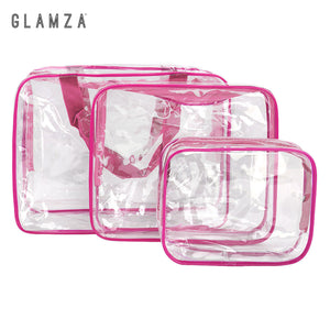 Glamza 3pc PVC Clear Travel Bags Set - Pink or Black