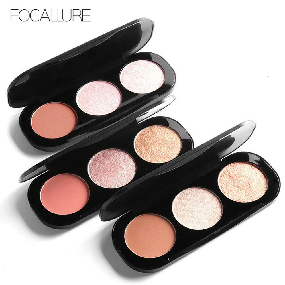 3 Colour Blusher Highlighter Palette by  Glamza Beauty