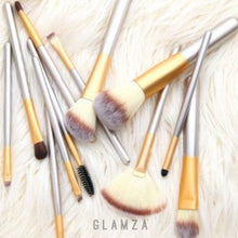 Load image into Gallery viewer, Glamza 12pc Champagne Makeup Brush Set