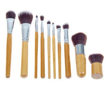 Load image into Gallery viewer, Glamza 10pc Bamboo Make Up Brush Set