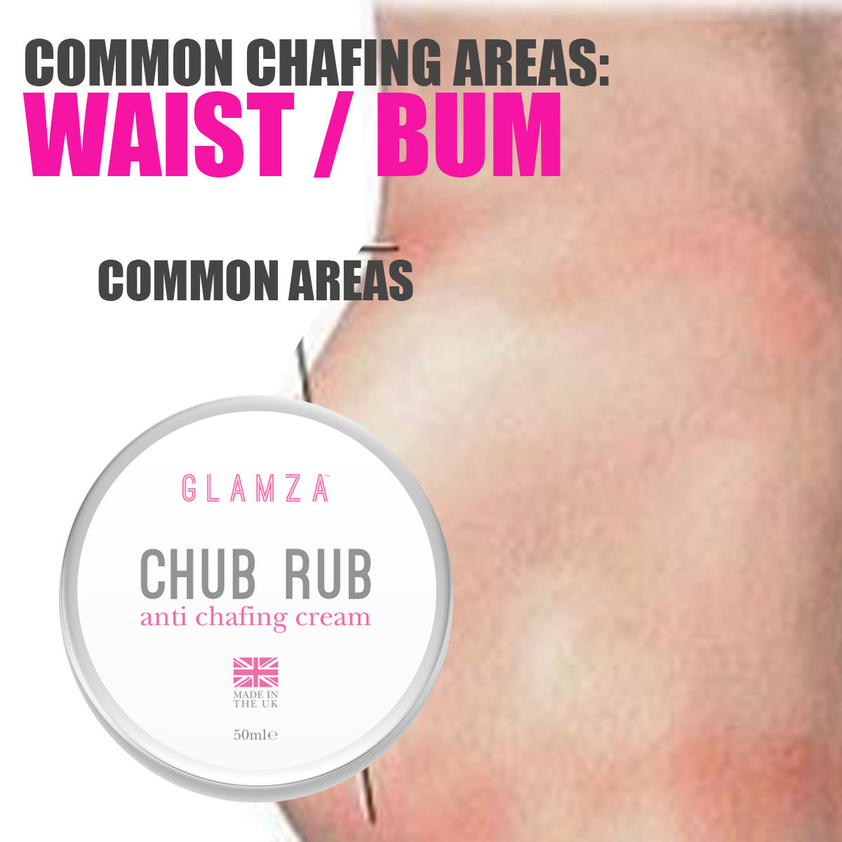 Glamza Chub Rub Anti Chafing Cream for Smooth Skin - Full Body Solution - Sports, Running, Hand and Feet Care 50g, Skin Care by Glamza Beauty