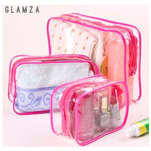 Load image into Gallery viewer, Glamza 3pc PVC Clear Travel Bags Set - Pink or Black