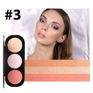 3 Colour Blusher Highlighter Palette