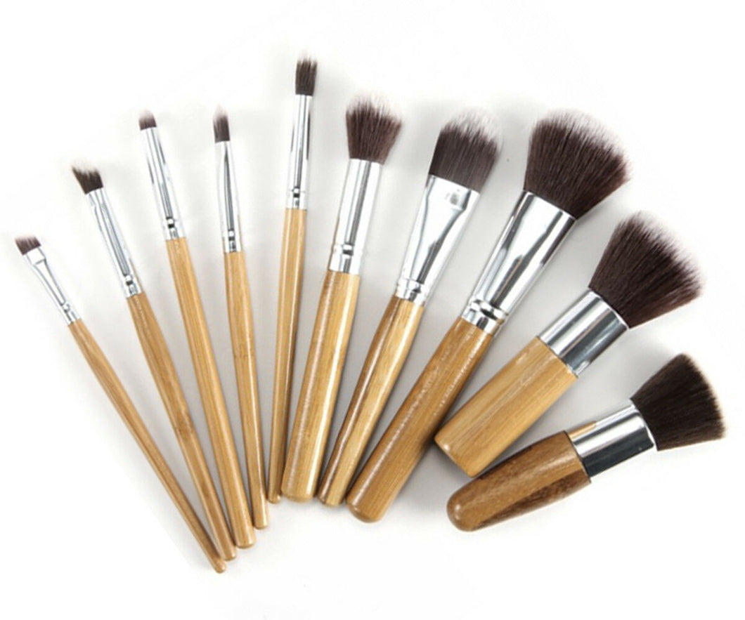 Glamza 10pc Bamboo Make Up Brush Set