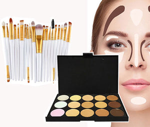 Glamza 20pc White Eye And 15pc Contour Palette Brush Set