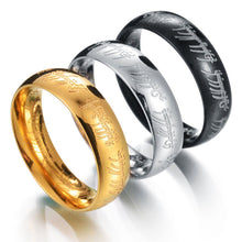 Load image into Gallery viewer, Mens Lord Vintage Stainless Steel Rings Bilbo's Hobbit Ring Gold