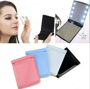 Glamza Portable LED Make Up Flip Mirror Black