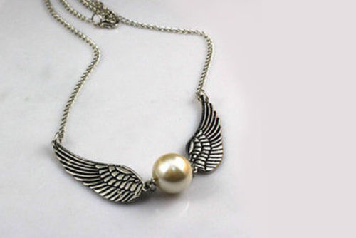 Harry Angel Potter Golden Brush Magical Wizard Doubled Winged Necklace by Glamza Beauty