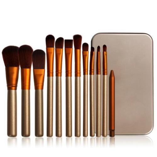 12pc Brush Set With Metal Storage Case by  Glamza Beauty