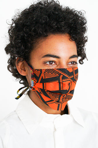 PLEATED COTTON MASK with ribbons