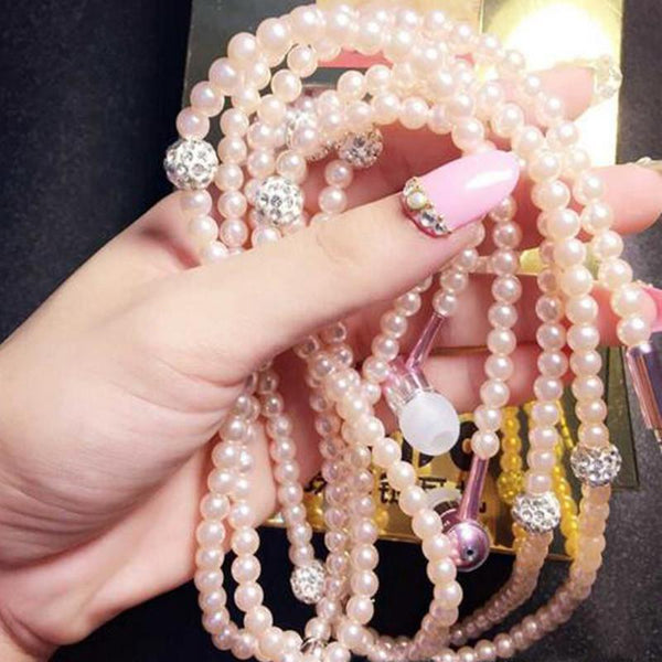 FASHIONABLE PEARL EARPHONE NECKLACE