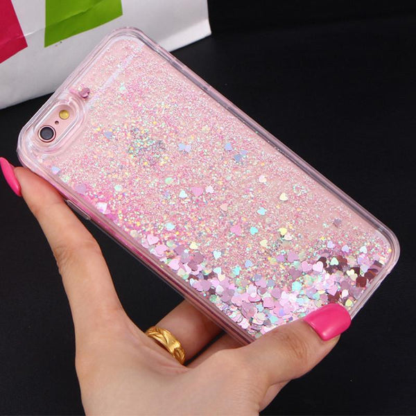 LOVE HEART STARS LIQUID GLITTER CASE