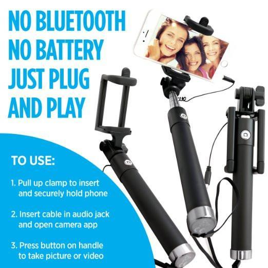 PORTABLE WIRED SELFIE STICK