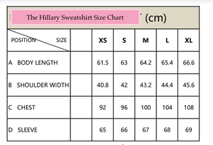 "the ""Hillary"" reversible sweatshirt - recovery wear clothing size chart"