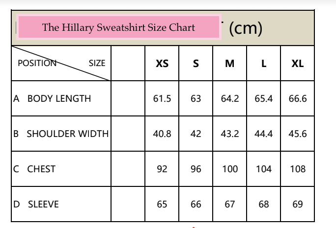 "the ""Hilary"" sweatshirt size chart"