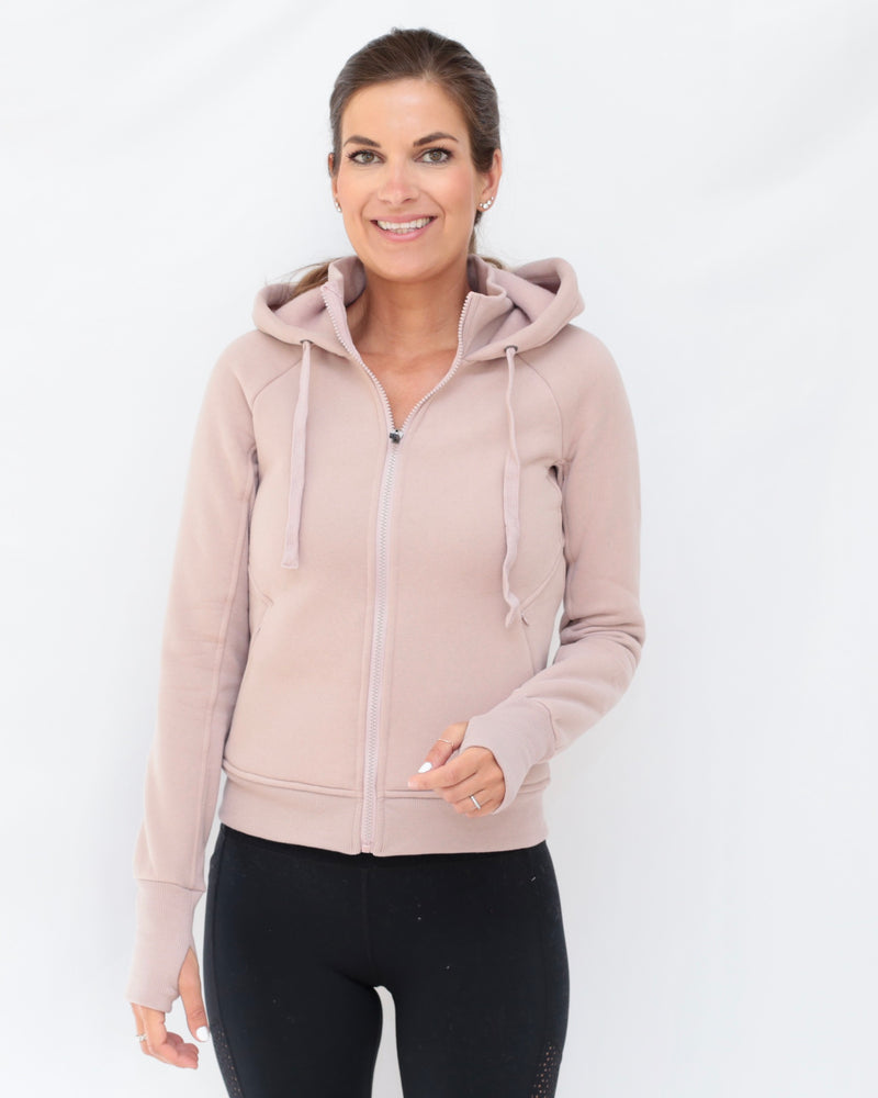 "The ""Dietra"" Bomber Sweatshirt Jacket in Misty Mauve - front view - recovery wear clothing"